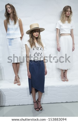 NEW YORK - SEPTEMBER 11: Model shows off dresses during Spring/Summer 2014 Fashion week for JOIE collection by Serge Azria at 548 Center on September 11, 2013 in New York City #153883094