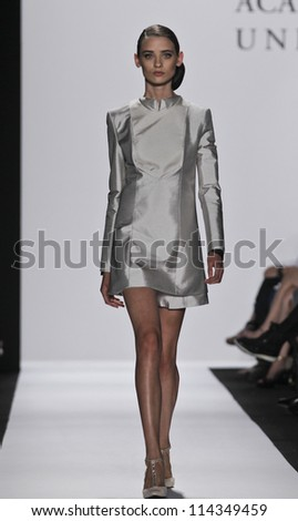 NEW YORK - SEPTEMBER 07: Model walks runway for Academy of Art University Collection by Jarida Karnjanasirirat during Spring/Summer 2013 at Mercedes-Benz Fashion Week on September 07, 2012 in New York