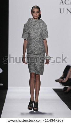 NEW YORK - SEPTEMBER 07: Model walks runway for Academy of Art University Collection by Jie Jessie Liu & Tanja Milutinovic during Spring/Summer 2013 at Mercedes-Benz Fashion Week on Sep 7, 2012 in NYC