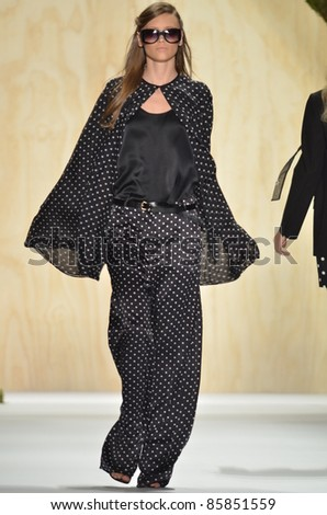 NEW YORK - SEPTEMBER 10: Model walks the runway at the Adam S/S 2012 collection presentation during Mercedes-Benz Fashion Week on September 10, 2011 in New York.