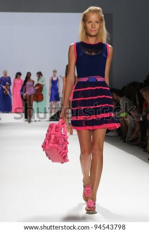 NEW YORK - SEPTEMBER 14: Model walks the runway at the Nanette Lepore Spring/Summer 2012 collection during New York Fashion Week on September 14, 2011 in New York City.