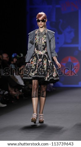 NEW YORK - SEPTEMBER 12: Model walks the runway for Anna Sui Collection during Spring/Summer 2013 at Mercedes-Benz Fashion Week on September 12, 2012 in New York