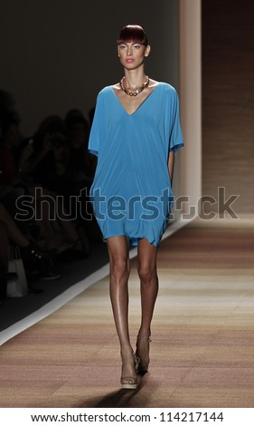 NEW YORK - SEPTEMBER 07: Model walks the runway for Czar Collection by Cesar Galindo during Spring/Summer 2013 at Mercedes-Benz Fashion Week on September 07, 2012 in New York