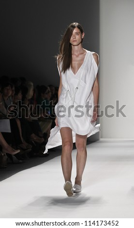 NEW YORK - SEPTEMBER 07: Model walks the runway for Demi Choonmoo Park Parkchoonmoo Collection during Spring/Summer 2013 at Mercedes-Benz Fashion Week on September 7, 2012 in New York