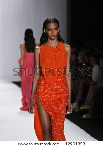 NEW YORK - SEPTEMBER 12: Model walks the runway for J. Mendel Collection by Gilles Mendel during Spring/Summer 2013 at Mercedes-Benz Fashion Week on September 12, 2012 in New York