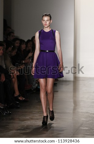 NEW YORK - SEPTEMBER 10: Model walks the runway for Mandy Coon Collection during Spring/Summer 2013 at Mercedes-Benz Fashion Week Milk Studio on September 10, 2012 in New York - stock photo