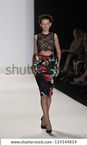 NEW YORK - SEPTEMBER 07: Model walks the runway for Project Runway Collection by Sonja Williams during Spring/Summer 2013 at Mercedes-Benz Fashion Week on September 07, 2012 in New York - stock photo
