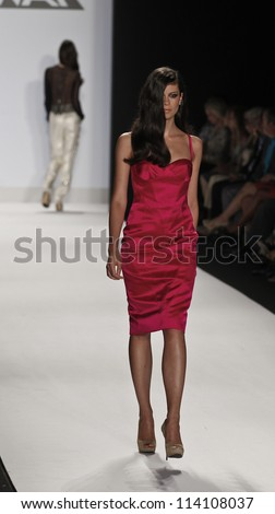 NEW YORK - SEPTEMBER 07: Model walks the runway for Project Runway Collection by Ven Budhu during Spring/Summer 2013 at Mercedes-Benz Fashion Week on September 07, 2012 in New York