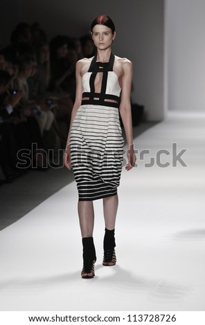 NEW YORK - SEPTEMBER 12: Model walks the runway for Vivienne Tam Collection during Spring/Summer 2013 at Mercedes-Benz Fashion Week on September 12, 2012 in New York