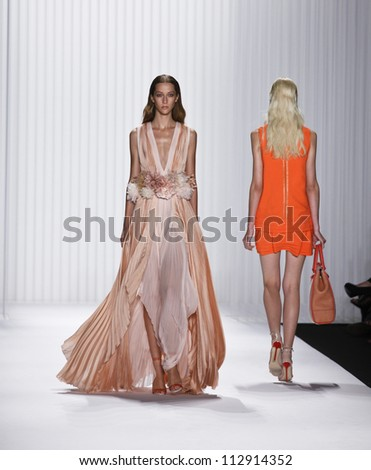 NEW YORK - SEPTEMBER 12: Models walk the runway for J. Mendel Collection by Gilles Mendel during Spring/Summer 2013 at Mercedes-Benz Fashion Week on September 12, 2012 in New York