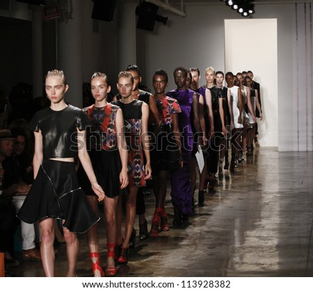 NEW YORK - SEPTEMBER 10: Models walk the runway for Mandy Coon Collection during Spring/Summer 2013 at Mercedes-Benz Fashion Week Milk Studio on September 10, 2012 in New York