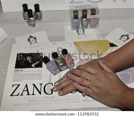 NEW YORK - SEPTEMBER 09: Nail color by Zoya on display backstage for Zang Toi presentation during Spring/Summer 2013 at Mercedes-Benz Fashion Week on September 9, 2012 in New York
