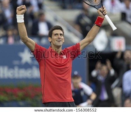 NEW YORK - SEPTEMBER 9: Novak Djokovic of Serbia reacts during US Open final match against Rafael Nadal of Spain at USTA Billie Jean King National Tennis Center on September 9, 2013 in New York City