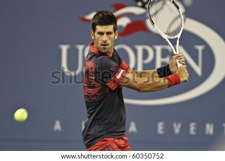 NEW YORK - SEPTEMBER 04: Novak Djokovic of Serbia returns ball during third round match against James Blake of USA at US Open tennis tournament on September 04, 2010, New York.