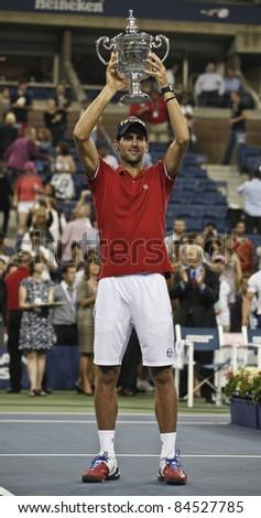 NEW YORK - SEPTEMBER 12: Novak Djokovic of Serbia winner of US Open single men championships with trophy at USTA Billie Jean King National Tennis Center on September 12, 2011 in NYC