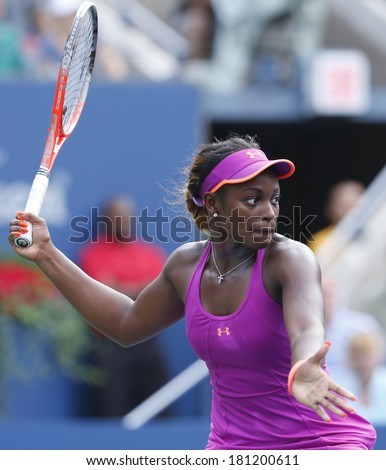 NEW YORK -SEPTEMBER 1: Professional tennis player Sloane Stephens during fourth round match at US Open 2013 against Serena Williams at Billie Jean King National Tennis Center on September 1, 2013 in NY