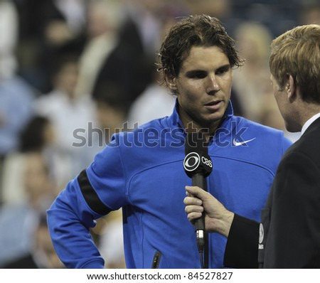 NEW YORK - SEPTEMBER 12: Rafael Nadal gives interview after final match against Novak Djokovic of Serbia at USTA Billie Jean King National Tennis Center on September 12, 2011 in NYC