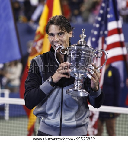 NEW YORK - SEPTEMBER 13: Rafael Nadal of Spain with the trophy after final match of US Open Tennis Championship against Novak Djokovic of Serbia on September 13, 2010 in New York, City.