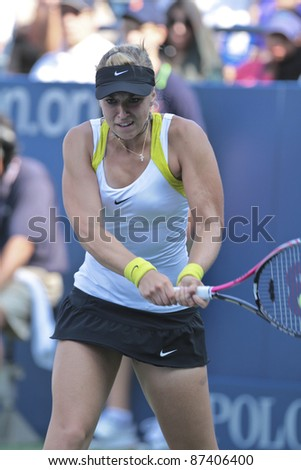 NEW YORK - SEPTEMBER 02: Sabine Lisicki of Germany returns ball during 3rd round match against Irina Falconi of USA at USTA Billie Jean King National Tennis Center on September 02, 2011 in NYC