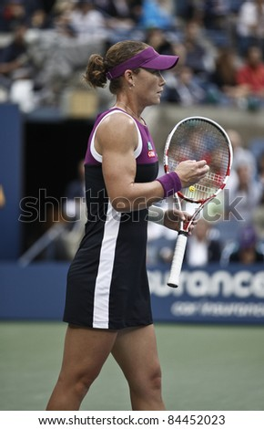 NEW YORK - SEPTEMBER 11: Samantha Stosur of Australia reacts during final match against Serena Williams of USA at USTA Billie Jean King National Tennis Center on September 11, 2011 in NYC