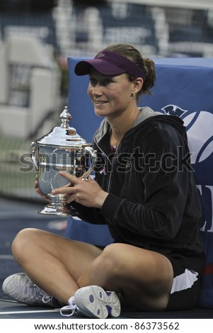 NEW YORK - SEPTEMBER 11: Samantha Stosur of Australia winner of US Open single women championships with trophy at USTA Billie Jean King National Tennis Center on September 11, 2011 in NYC