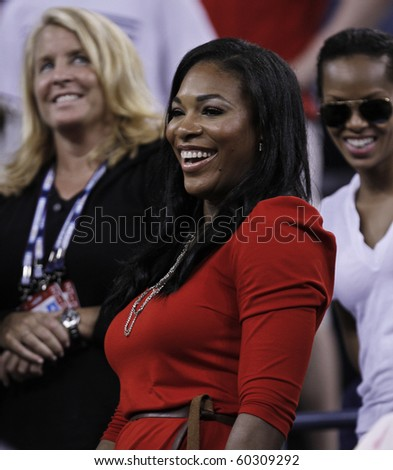 NEW YORK - SEPTEMBER 03: Serena Williams attends third round match between Venus Williams of USA and Mandy Manella of Luxembourg at US Open tennis tournament on September 03, 2010, New York.