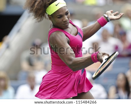 NEW YORK - SEPTEMBER 03: Serena Williams of USA returns ball during 4th round match against Andrea Hlavackova of Czech Republic at US Open tennis tournament on September 3, 2012 in Flashing New York