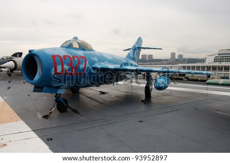 NEW YORK - SEPTEMBER 24: This MiG-17, painted in the colors of the N. Vietnamese air force, shown on September 24, 2011, was built in Poland and is on the USS Intrepid Museum in New York City.