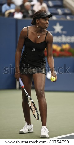 NEW YORK - SEPTEMBER 10: Venus Williams of USA returns the ball during semifinal match against Kim Clisters of Belgium at US Open tennis tournament on September 10, 2010, New York - stock photo