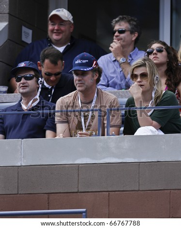 NEW YORK - SEPTEMBER 04: Will Ferrell and wife Viveca Paulin attend match between Paul-Henry Mathieu of France and Roger Federer of Switzerland at US Open Tennis Championship on Sep 04, 2010 in NYC