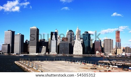 New York sky line from Brooklyn - stock photo