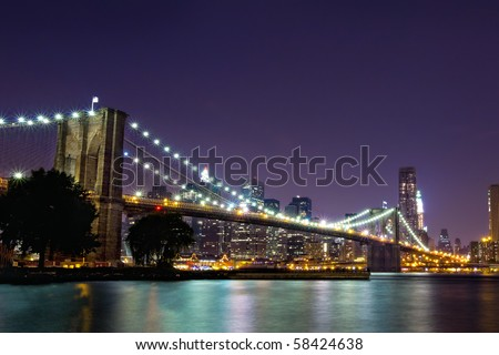 new york skyline at night black and. stock photo : New York Skyline
