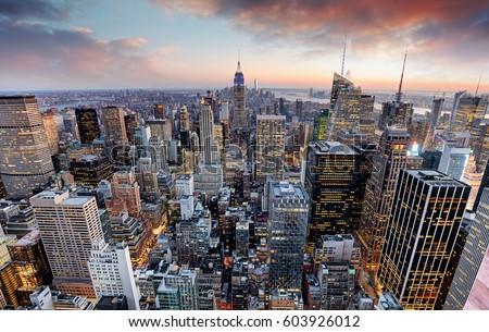 New York skyline at sunset, USA.