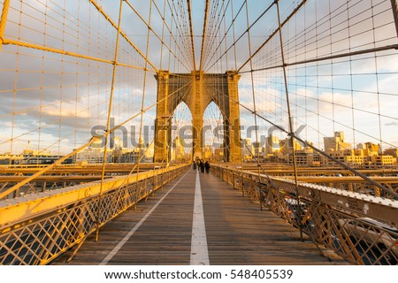 New York skyline in the Brooklyn Bridge #548405539