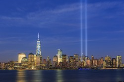 New York Skyline, 911 memorial light.
