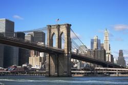 New York skyline showing Brooklyn Bridge