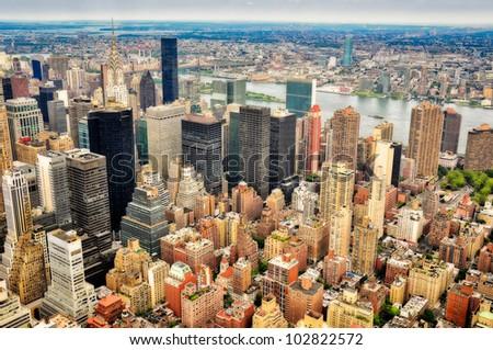 New York skyscrapers bird view