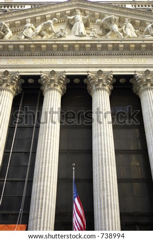 New york stock exchange building designed by George B Post, wall street, manhattan, new york city, America, usa, The orange flag in the bottom right corner denotes the current security level/threat