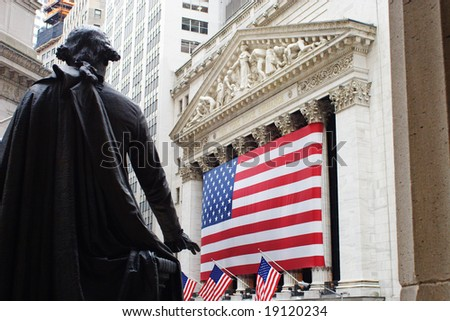 New York Stock exchange from old Federal building