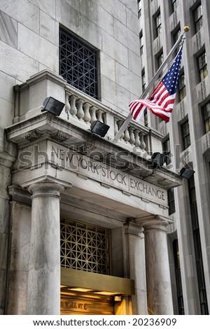 New York stock exchange US financial landmark.