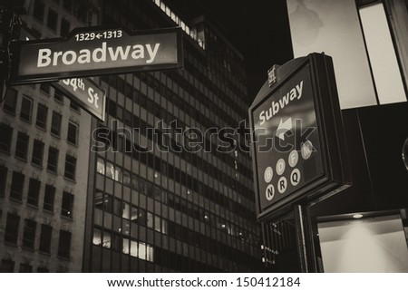 New York. Street signs and giant Buildings of Manhattan.