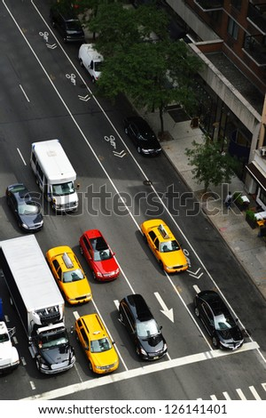 New York street traffic view from the top