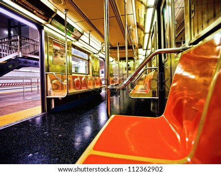 new york subway car interior with open door stock photo 112362902 shutterstock. Black Bedroom Furniture Sets. Home Design Ideas