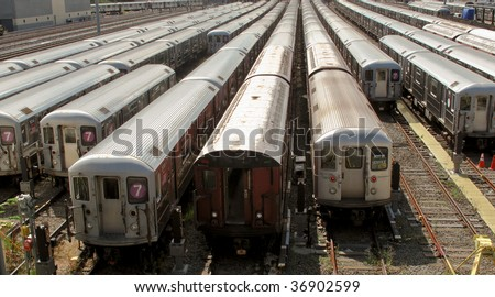 New york subway trains at the end of the line at the train depot