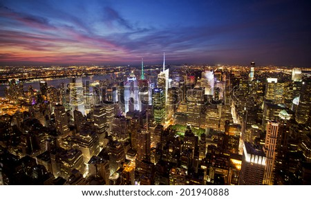 New York sunset skyline taken from the Empire State Building #201940888