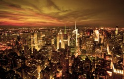 New York sunset skyline taken from the Empire State Building with gold filter