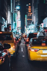 New York Taxi with night lights