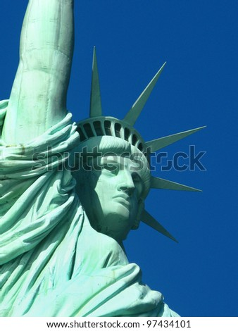 New York: The Statue of Liberty, an American symbol. Liberty Island, New York City, USA