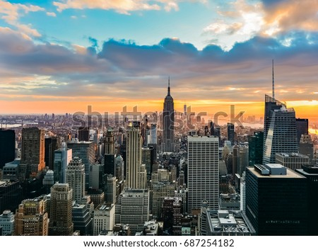 NEW YORK, UNITED STATES - DECEMBER 31, 2015 -   View of New York City at sunset #687254182