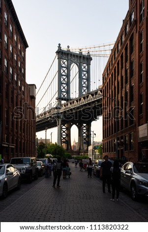 New York, United States - May 21, 2018: Manhattan Bridge at sunset seen from Washington Street, Brooklyn, New York #1113820322